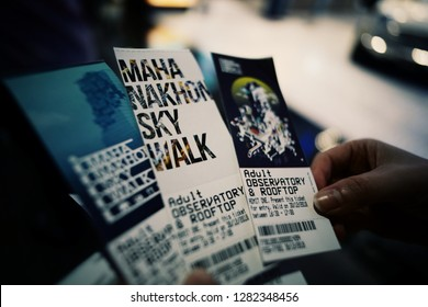 Bangkok, Thailand- December 30, 2018: Skywalk Tickets to the top of King power Mahanakhon building, the highest building in Bangkok, Thailand.