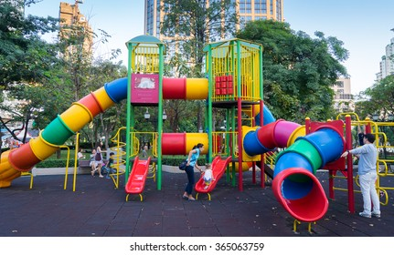 Bangkok, Thailand - December 31, 2015: Benjasiri park on December 31, 2015. Local Families are enjoying Bangkok Playground.