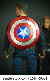 BANGKOK THAILAND - DECEMBER 31 ,2016 : Close up shot of Captain America Civil War superheros figure in action standing turn back. Captain america appearing in American comic books by Marvel.