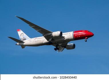Bangkok - Thailand , December 31 , 2017 ; Boeing 787-8 Dreamliner of Norwegian Airline (Edvard Munch livery), Registered LN-LNG on final approach for landing at Suvarnabhumi International Airport.