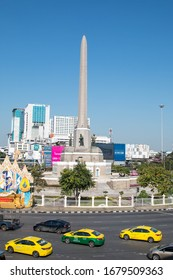 Bangkok, Thailand - December 31, 2018: View of the Victory Monument the big military monument.