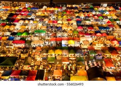 Bangkok, Thailand - December 31,2016 : The Train Night Market Ratchada, also known as Talad Nud Rod Fai, is only a two-minute walk from the MRT.