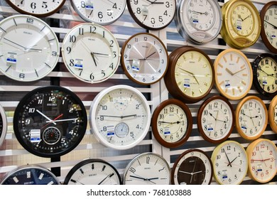 Bangkok , Thailand - December 4 , 2017 - Many Digital Clock On The Wall In Department Store, Thailand - Editorial Use Only.