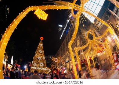 BANGKOK ,THAILAND -DECEMBER 4 ,2020 : Light and ball star decorate beautiful on Christmas Tree Celebration 2021 at Central World Department store for Christmas day and Happy New Year event in Bangkok.