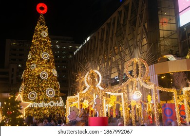 BANGKOK ,THAILAND- DECEMBER 4 ,2020 : Light and ball star decorate beautiful on Christmas Tree Celebration 2021 at Central World Department store for Christmas day and Happy New Year event in Bangkok.