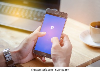 Bangkok, Thailand - December 4,2016: Facebook is an online social networking service founded in February 2004 by Mark Zuckerberg with his college roommates and is now a fortune 500 company.