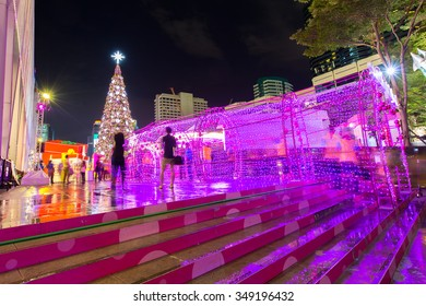 Bangkok, Thailand - December 5, 2015:New Year decoration light in front of Central World department store, Bangkok Thailand