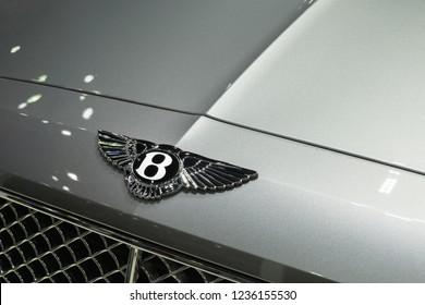 """Bangkok, Thailand - December 5, 2017 : the logo of the a """"Bentley"""" luxury car on a Bentley car in Bangkok Thailand"""