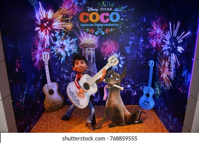 "Bangkok, Thailand - December 5, 2017: Beautiful Standee of Disney Animation ""COCO"" display at the theater"