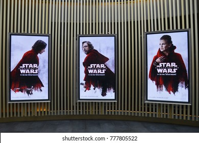Bangkok, Thailand - December 5, 2017: Poster of Star Wars: Episode VIII - The Last Jedi displays at the theater