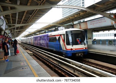 Bangkok, Thailand - December 5, 2017: BTS Skytrain Waiting at a Siam Interchange Station