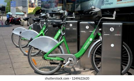 BANGKOK, THAILAND - DECEMBER 5, 2018: Bicycle Sharing System Pun Pun available at designated stations on December 5, 2018 in Bangkok, Thailand.