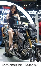 BANGKOK, THAILAND : December 5, 2018 - Pretty presenting BigBike at in Motor Expo 2018 IMPACT Arena, Muang Thong Thani in Nonthaburi, Thailand