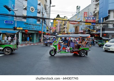 Bangkok, Thailand â?? December 6, 2015: Taxi drivers ply their trade around Bangkok. Thailand is the only Southeast Asian country never to have been colonized by a European Power.