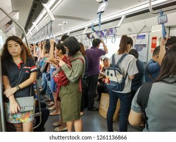 Bangkok, Thailand - December 6, 2018: People passenger at MRT Purple Line Bang Yai-Tao Poon station. Many people in Bangkok use skytrain to save time. lifestyle of people in Bangkok, Thailand.