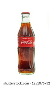 Bangkok, THAILAND December 6: Coca-Cola Classic in a glass bottle Isolated on white Background. on 6 December 2018 in Bangkok ,Thailand