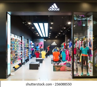 BANGKOK, THAILAND - DECEMBER 6: Exterior view of Adidas Shop on December 6, 2014 in Bangkok, Thailand. It is a famous German multinational corporation that designs and manufactures sports accessories.