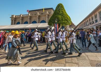 Bangkok, Thailand - December 7, 2019: Change of Guards parade at The Grand Palace, Bangkok by ceremonial King's guard from Royal Thai Armed Forces.