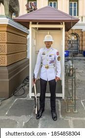 Bangkok, Thailand - December 7, 2019: Soldier of the royal guard at the Royal Palace in Bangkok, Thailand.