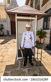 Bangkok, Thailand - December 7, 2019: Soldier of the royal guard at the Royal Grand Palace in Bangkok, Thailand.