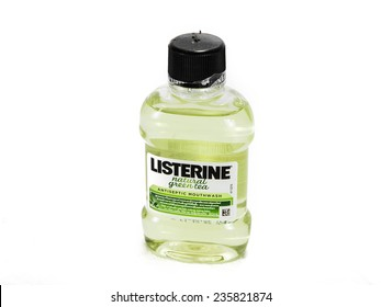 BANGKOK THAILAND- DECEMBER 7: Listerine isolated on white background. Listerine is a brand of antiseptic mouthwash product.Taken in a studio on DECEMBER 7, 2014 at Studio in Bangkok,Thailand.