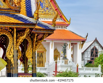 Bangkok, Thailand - December 8, 2015: Classical Thai  architecture in National Museum of Bangkok, Thailand. Sala Longsong is the pavilion at the entrance of the National Museum.