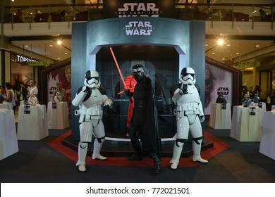 Bangkok, Thailand - December 9, 2017: Kylo Ren and Storm Trooper costumes from Star Wars Episode VIII The Last Jedi at the theater