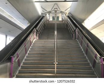 Bangkok, Thailand: empty staircase and escalator at MRT station : 22 September 2018,