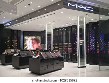 BANGKOK, THAILAND - FEB 13, 2018 : View of MAC Cosmetics Shop in shopping Mall. MAC Cosmetics was founded in Toronto, Ontario, Canada in 1984 and became part of the Estée Lauder Companies in 1998.