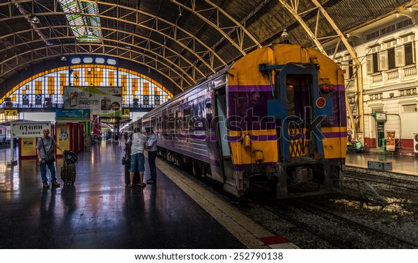 Bangkok, Thailand - Feb 14, 2015: Unidentified people in  environment of Hualamphong terminal, the center of Thailand's train