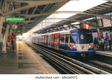 BANGKOK , THAILAND FEB 15, 2017 : BTS Sky Train is running in downtown of Bangkok.  Sky train is fastest transport mode in Bangkok