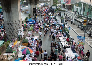 Bangkok, Thailand - Feb 16, 2014 : Unidentified protesters gather at Pathumwan intersection for shutdown Bangkok on Valentine's day