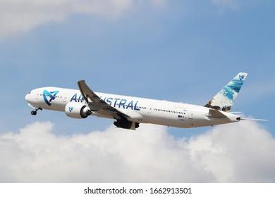 Bangkok Thailand / FEB 16 2020 / Air Austral Boeing 777-300ER takeoff from Suvarnabhumi Airport VTBS