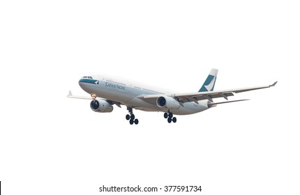 BANGKOK THAILAND - Feb 18, 2016 - Cathay Pacific plane isolate on white background on Feb 18, 2016 in Bangkok, Thailand.