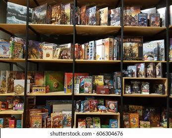 BANGKOK, THAILAND- FEB 2017 :A lot of board games on shelves in a shop