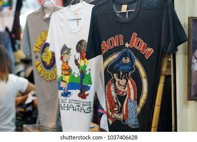 Bangkok, Thailand- Feb 2018: Various design on the t-shirt at the flea market Chatuchak