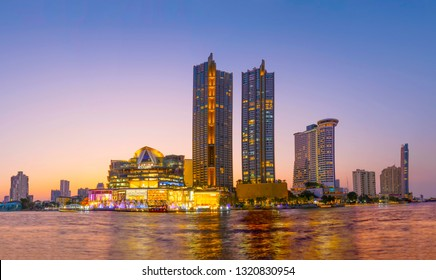 BANGKOK, THAILAND - FEB 2019 : IconSiam department store and Magnolias Waterfront Residences at sunset time on February 21, 2019 at bangkok, Thailand. Iconsiam already open November 9, 2018 - Image
