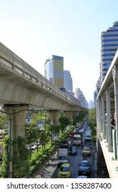 BANGKOK THAILAND, FEB 2019 : Rush hours Traffic at Sukhumvit road bangkok. See traffic jam and Sky Train on above.  Sukhumvit area are the heart of Bangkok.