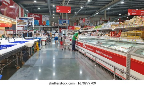 BANGKOK, THAILAND - FEB 23: Food products display at Makro supermarket in Bangkok on February 23, 2020. Makro is an originally wholesale center in Thailand, also called cash and carries.