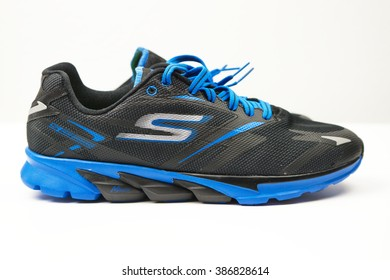 BANGKOK, THAILAND - FEB 29,2016:sport Shoe Skechers GO run 4 on white background -Skechers GO run 4 2016 is the generation of running shoes. Designed for speed with innovative performance technology