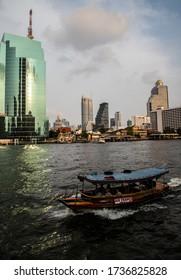 BANGKOK, THAILAND, FEB 3, 2019: panorama of Bangkok and Chao Phraya river, Thailand