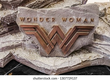 Bangkok, Thailand - Feb 4, 2019: Logo in model From The Movie Wonder Woman displays at the theater.