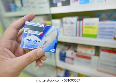 BANGKOK ,THAILAND - FEB 4: Viagra new packaging in hand on February 4, 2017 in drugstore Bangkok. Viagra was originally developed by Pfizer  as an erectile dysfunction drug