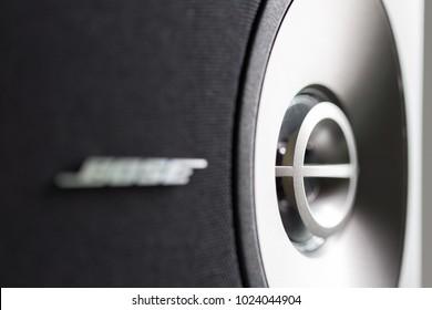 Bangkok Thailand, Feb 5 2018: Logo of Bose sound system located on speaker.