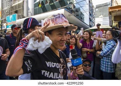 Bangkok, Thailand - FEB 7, 2014: Ms. Anchalee Paireerak, the PDRC core-leader and the Money Hat during  the march in Silom area..