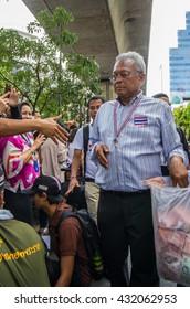 Bangkok, Thailand - FEB 7, 2014: Mr. Suthep Thaugsuban, the PDRC Secretary-General during  the march in Silom area.