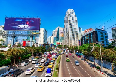 BANGKOK, THAILAND - FEBRUARY 01: This is a view of downtown Bangkok Asoke area with traffic and high rise buildings on February 01, 2017 in Bangkok