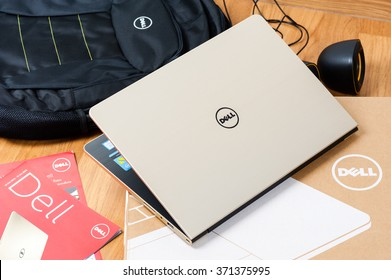 BANGKOK, THAILAND - FEBRUARY 03, 2016: The new Dell Vostro 5459 (Gold) notebook.