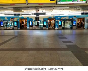 BANGKOK, THAILAND - FEBRUARY 03, 2019: Bangkok Skytrain or BTS, Siam Station at Bangkok on FEBRUARY 03, 2019. BTS is convenient transportation to travel around central of Bangkok.