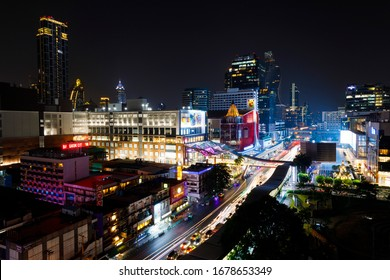 BANGKOK, THAILAND - FEBRUARY 04, 2020: Busy streets of the city of Bangkok, Thailand, at night in February 2020